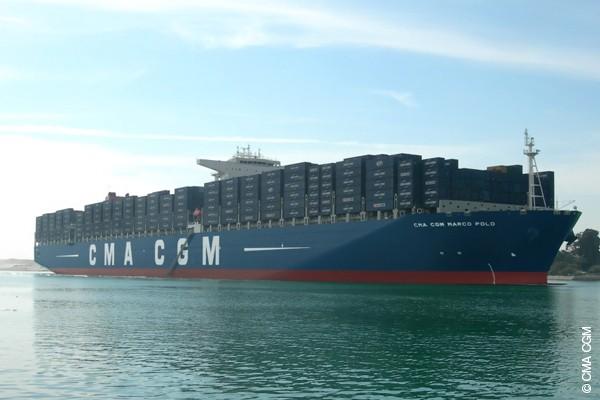 CMA CGM Marco Polo transiting the Suez Canal on December 1, 2012. File photo courtesy CMA CGM