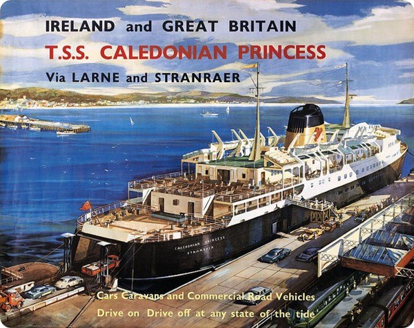 Vintage travel poster from the 1960's. Scottish Shipping Poster Print, Caledonian Princess, Larne Stranraer