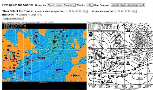 Verification NOAA OPC Jan 26th showing the 48 hour forecast chart and the actual analysis chart