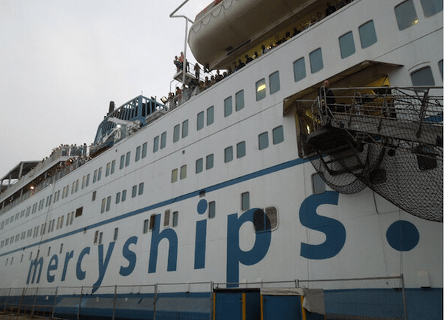 Mercy Ships' Africa Mercy hospital ship. Via Mercy Ships' facebook page