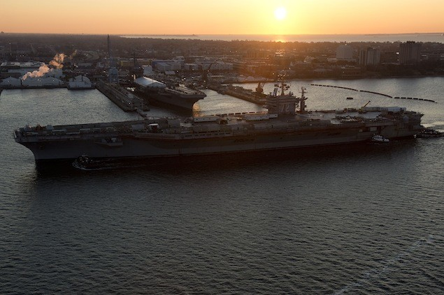 The aircraft carrier USS Abraham Lincoln (CVN 72) arrived at Newport News Shipbuilding this morning for its refueling and complex overhaul (RCOH). The work was delayed in early March due to sequestration.