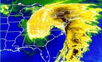 "Satellite imagery of the ""Storm of the Century"" on March 13, 1993."