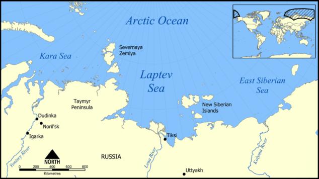 laptev sea map arctic