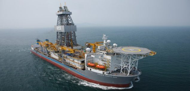 The Pacific Santa Ana commenced its 5 year contract with a Chevron subsidiary on March 21, 2012, and began operations in the U.S. Gulf of Mexico on May 4, 2012. The drillship can drill to a depth of 40,000 feet. Image: Pacific Drilling