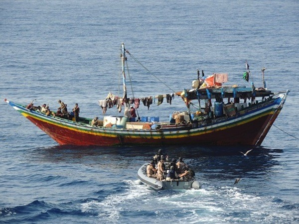 Spanish EU Naval Force frigate ESPS Numancia's RHIB approaching a dhow to gather information. Photo: EUNAVFOR