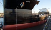 A look at the bow of MLP-1 as it enters San Diego Bay for the first time. Photo: NASSCO
