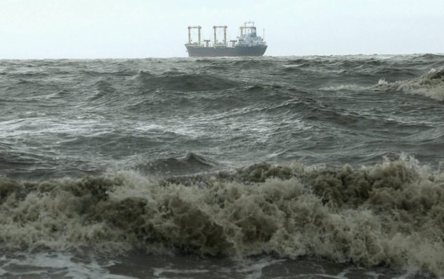 A ship is seen from the shore of the Bay of Bengal before cyclone Mahasen approaches in Chittagong May 16, 2013. REUTERS/Andrew Biraj