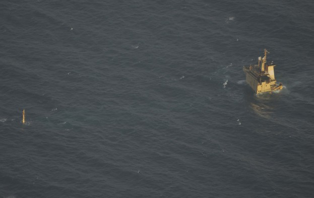 The MV Albedo is pictured after it sank at a Somali anchorage just off the coast in July 2013. Photo courtesy EUNAVFOR