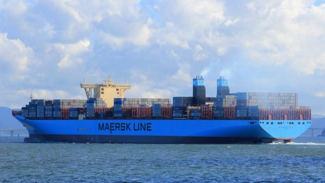 Maersk Lines' first Triple-E, MV Mærsk McKinney-Møller, departs Busan, South Korea following her maiden port call earlier this month.
