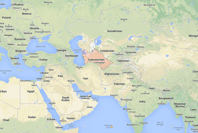Turkmenistan, formerly also known as Turkmenia, is one of the Turkic states in Central Asia. Image via Google Maps