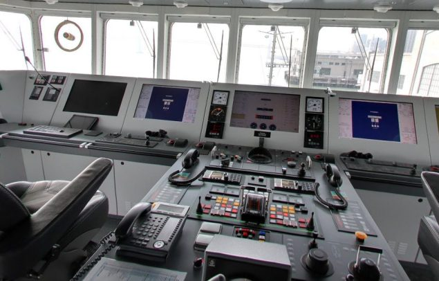 The bridge is one of nine areas of the ship you can explore with street view. Click to interact.