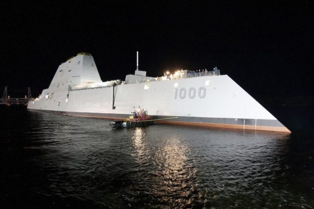 The Zumwalt-class guided-missile destroyer DDG 1000 is floated out of dry dock at the General Dynamics Bath Iron Works shipyard, October 28, 2013. U.S. Navy Photo