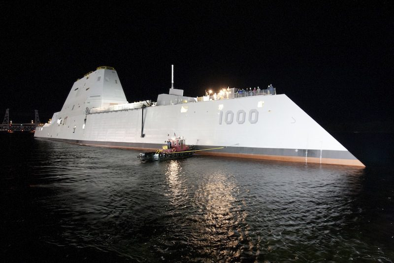 The first Zumwalt-class guided-missile destroyer DDG 1000 is floated out of dry dock at the General Dynamics Bath Iron Works shipyard, October 28, 2013. U.S. Navy Photo