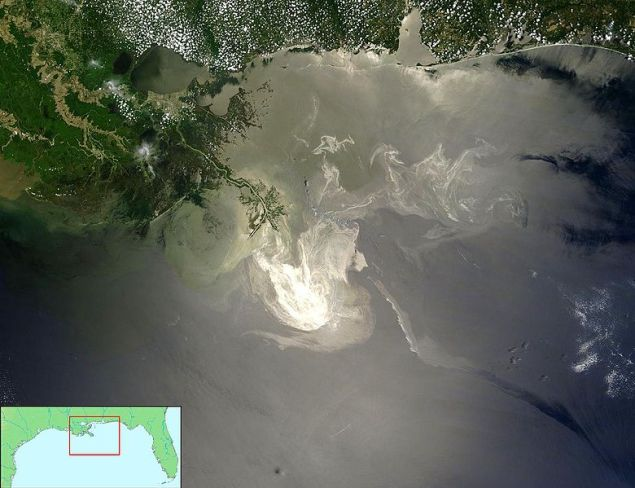 The Gulf Oil Spill as observed from NASA's Terra satellite on May 24, 2010. Image credit: NASA/Wikimedia Commons