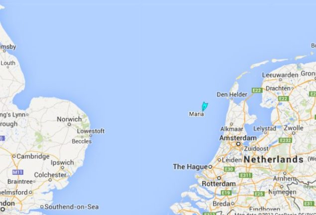 The screenshot shows the last position recorded for Maria in the North Sea. AIS provided by MarineTraffic.