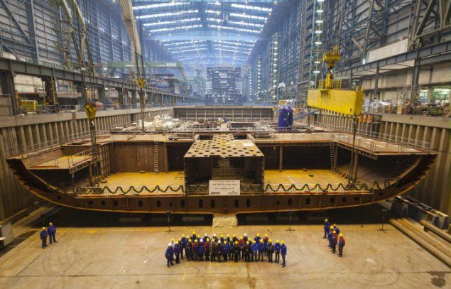 The first block of the new cruise ship Anthem of the Seas for Royal Caribbean Cruises is put in place in MEYER WERFT's building dock II. Image courtesy Meyer Werft/Royal Caribbean