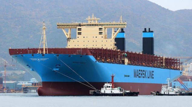 File photo shows Maersk Triple-E float out at DSME shipyard in South Korea. Photos (c) Vladimir Tonie