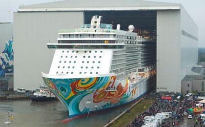 The float out of the Norwegian Getaway at the Meyer Werft shipyard in November 2013. The ship was delivered to Norwegian Cruise Lines in January 2014. Image courtesy Meyer Werft