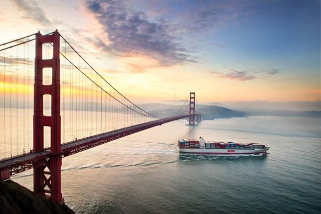 oocl containership golden gate bridge sunset