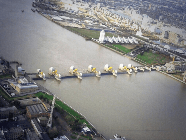 The Thames Barrier closed, December 6, 2013. Image (c) MPS Helicopters