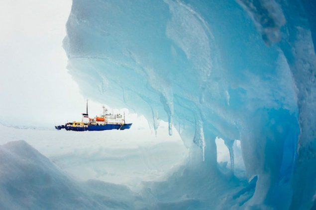 The MV Akademik Shokalskiy is pictured stranded in ice in Antarctica