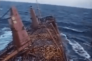 Crazy Video: Crew Ditches Cargo to Save Ship