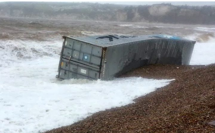 maersk container ashore beach