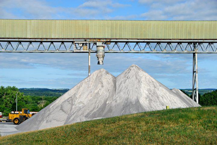 salt pile rock winter