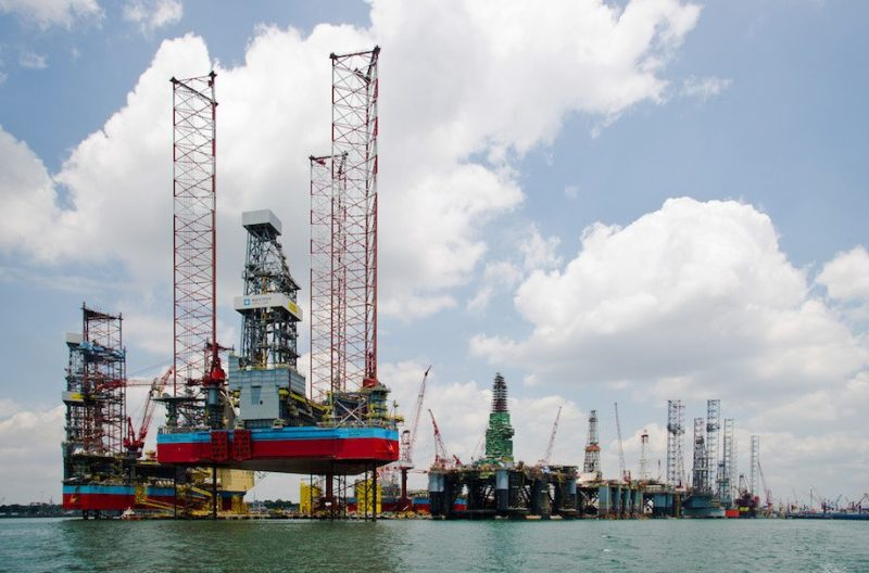 Jackup rigs under construction at the Keppel FELS shipyard in Singapore. Photo courtesy Maersk