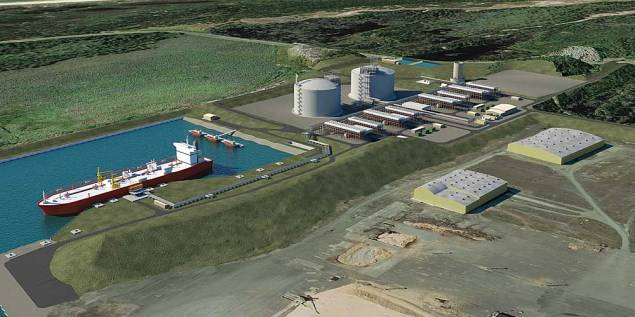 Artist's Rendering of  the Jordan Cove Energy Project. Image courtesy Jordan Cover Energy Project, L.P.
