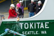 Washington States' First Olympic-Class Ferry Christened at Vigor