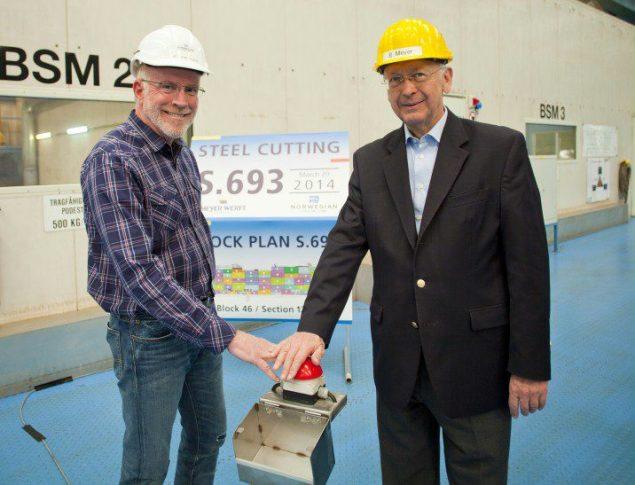 NCL CEO, Kevin Sheehan, and Bernard Meyer, managing partner at Meyer Werft.