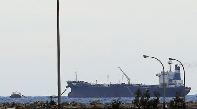 An alleged North Korean-flagged tanker is docked at the Es Sider export terminal in Ras Lanuf March 8, 2014. Libya threatened on Saturday to bomb the ship if it tried to ship oil from a rebel-controlled port. REUTERS/Esam Omran Al-Fetori