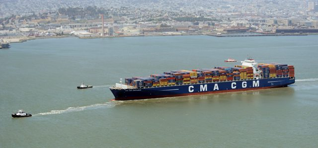 cma cgm containership under tow san francisco