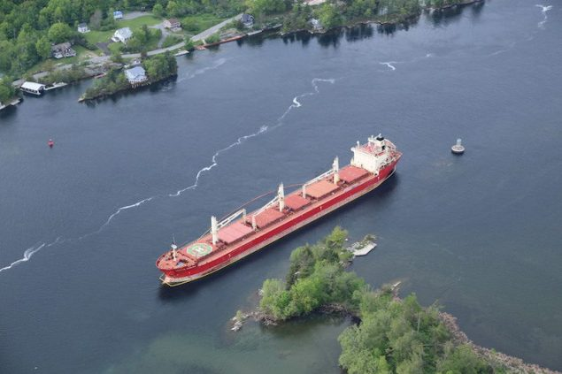The Federal Kivalina lost power and ran aground near the Thousand Island Bridge May 27, which has suspended vessel traffic in the St. Lawrence Seaway for several days. U.S. Coast Guard Photo
