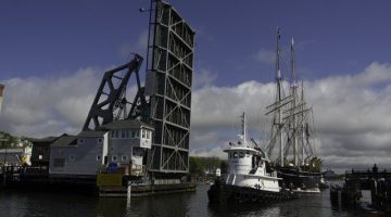 Passing by the Mystic highway bridge, image courtesy Mystic Seaport