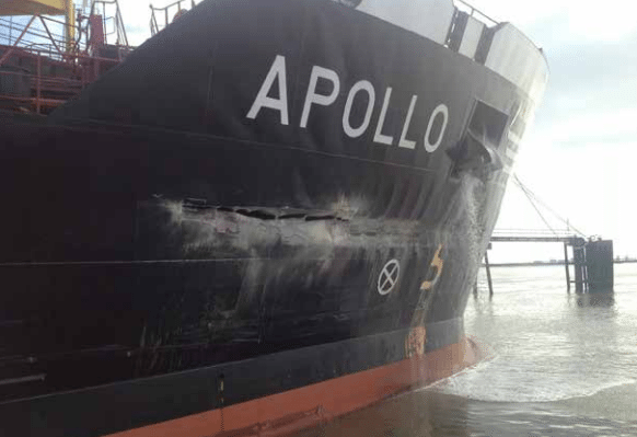 Damage to the MT Apollo. Photo courtesy London Port Authority