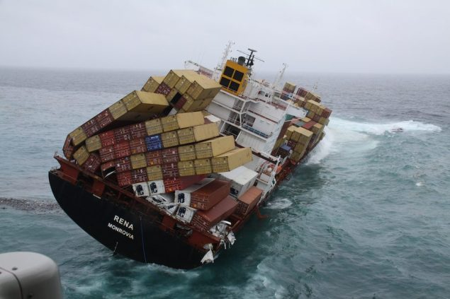 The MV Rena lost an estimated 900 containers when it ran aground and broke up off the coast of New Zealand in October 2011. Photo courtesy Maritime New Zealand