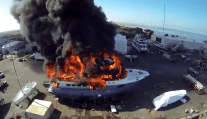 WATCH: Drone Films as Luxury Yacht Gets Destroyed by Fire
