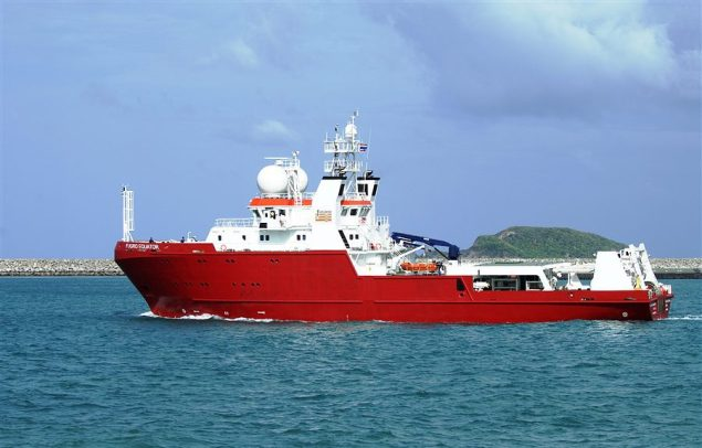 The Fugro Equator, fitted with state-of-the art multibeam echosounder equipment, has been conducting a bathymetric survey of the seafloor in the search area for missing flight MH370 in the Indian Ocean. Photo courtesy Fugro