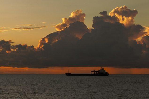 cargo ship sunset shipping bulk carrier