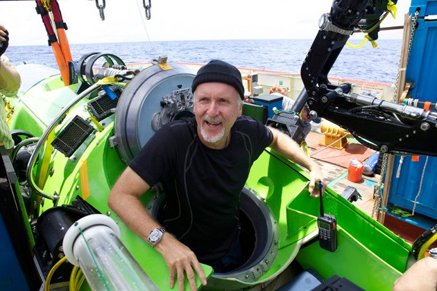 James Cameron emerges from his Challenger Deep sub after completing the record breaking dive. Photo Photo by Mark Thiessen/National Geographic