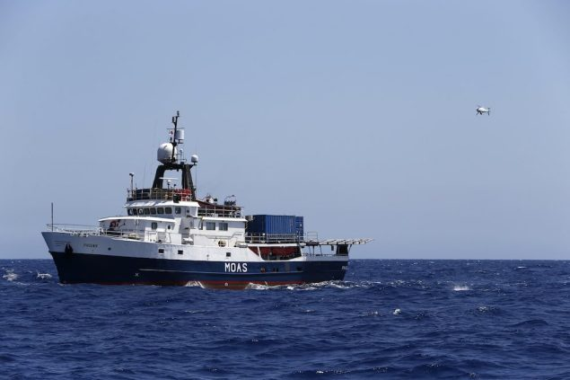 An unmanned aerial vehicle (UAV) is brought in to land on the flight deck of the Phoenix I, the expedition vessel of the Migrant Offshore Aid Station (MOAS) project, south of Malta, during the vessel's first 20-day mission, August 25, 2014. REUTERS/Darrin Zammit Lupi