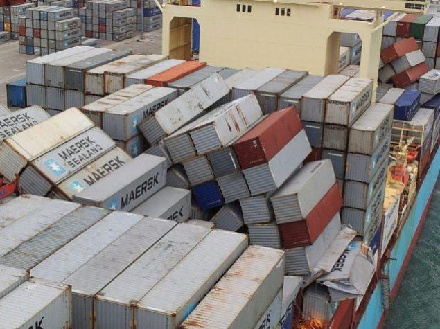 Photo shows toppled containers aboard Svendborg Maersk upon arrival in Malaga. Photo: Maersk Line A/S via DMAIB