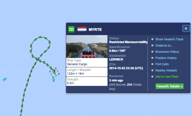 AIS data from MarineTraffic shows the MV Myrte under tow by the tug Tystie as of Wednesday night. Screengrab courtesy MarineTraffic.com