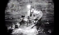 Coast Guard imagery shows the 60-foot Sakonnet Lobster sinking about 40 miles south of Block Island, Rhode Island.