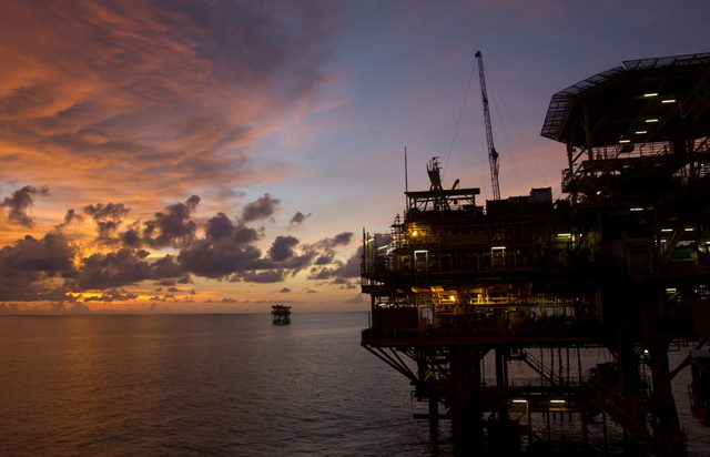 oil rig sunset offshore