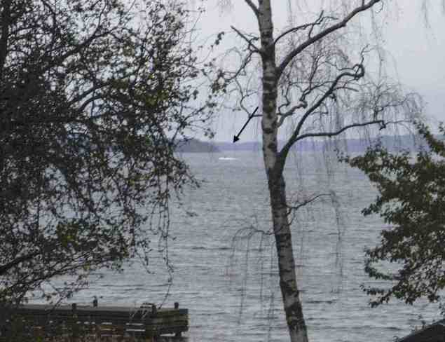 This amateur photo made available on October 19, 2014 by the Swedish Defence Ministry shows an object (top C) in the sea near Stockholm. Sweden released the grainy photo of a mysterious vessel in Stockholm's archipelago. REUTERS/Swedish Defence Ministry/Handout/TT News Agency