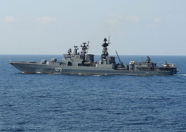 The Russian destroyer Admiral Vinogradov, sister ship to the anti-submarine ship Severomorsk, underway in the 2009. File photo: Wikimedia Commons