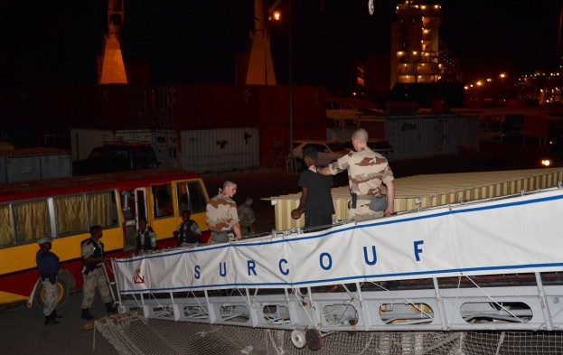 The suspected pirates arrive in Mauritius in January 2013. Photo: EU NAVFOR